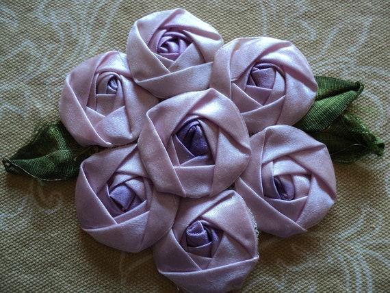 1920s Silk Ribbon Roses Applique 7 lavendar Rosettes with silk leaves applique ribbonwork