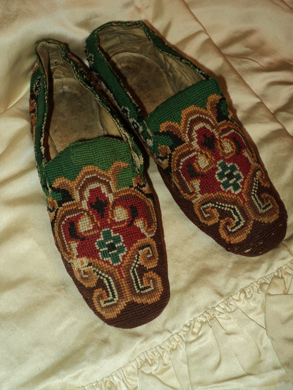 Gentlemens Antique Slippers Woven Ethnic 19th C Museum Quality 1880s