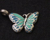 blue pewter and epoxy butterfly pendant