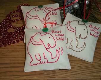 Hand Embroidered Christmas Ornament- Bully Dog