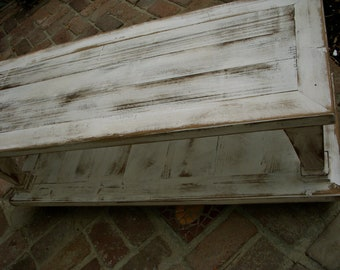 Living Room Furniture - Wood Coffee Table - Wooden - Shabby Cottage - Furniture - French Country - Rustic Home - 45 long x 20 wide x 16 tall