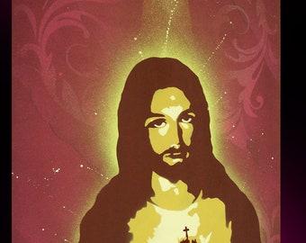 24 x 32 Pop Art Painting Custom JESUS CHRIST Unframed. Frame available for separate purchase