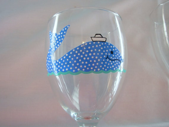 Whale Wine Glass Handpainted Personalized, Nautical Wine Glass, Handpainted Whale Wine Glass, Whimsical Whale Wine Glass, Personalized Gift