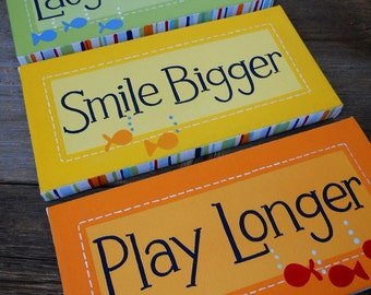 smile bigger trio, 6x12 stretched canvas playroom/nursery wall art