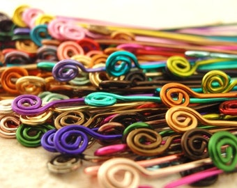 10 Colorful Handmade Swirly Headpins - Enameled Copper - Choose Color, Gauge and Length