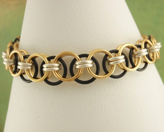 Helm Bracelet Kit - Brass, Black and Silver Chainmaille
