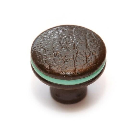 Thin Mint Chocolate COOKIE SANDWICH Wooden KNOB