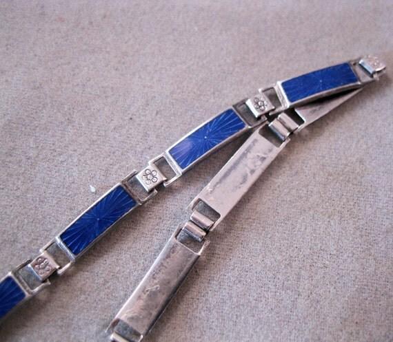 Art Deco Blue Enamel Sterling Bracelet 1930s Guilloche SALE