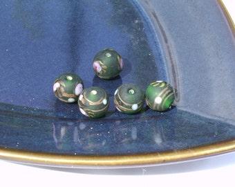 Deep Dark Green Lampwork Beads
