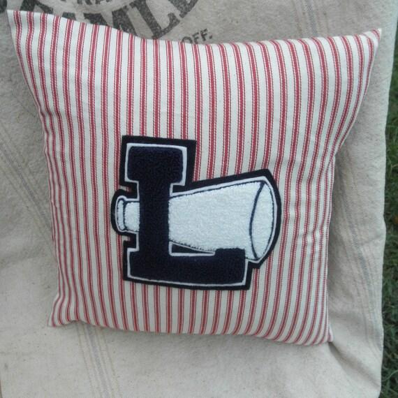 Vintage Varsity Letter Pillow, Varsity Letter L, Mattress Ticking Down Pillow