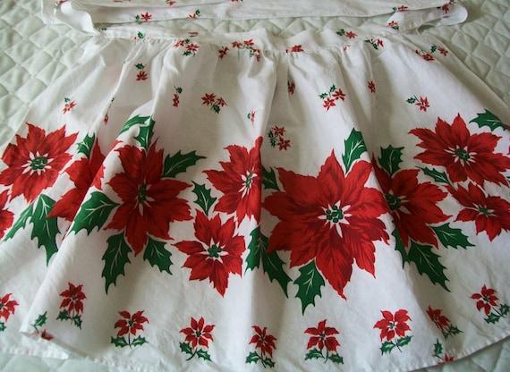 Vintage Christmas apron, red, white, green, poinsettia, apron, kitchen, holiday, Christmas
