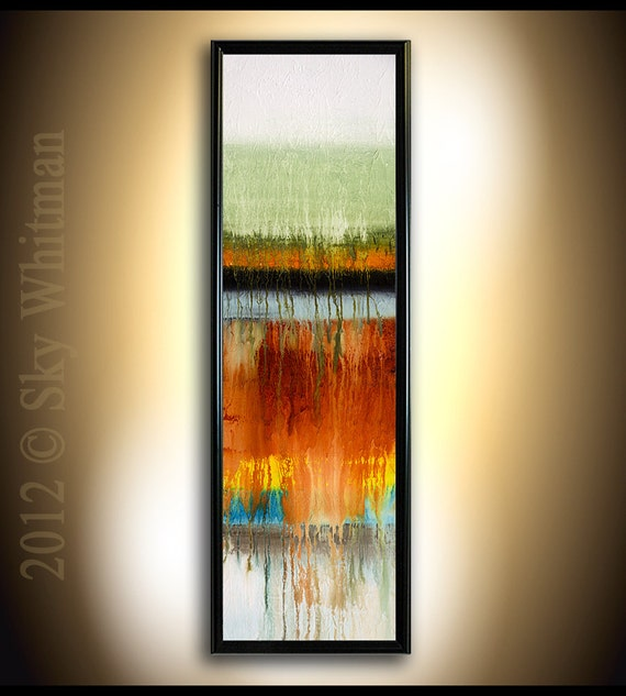 Extra Large Fine Art Print FRAMED 13x37 Abstract contemporary of my original  painting by Sky Whitman