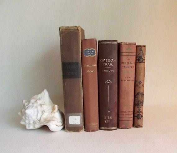 5 Vintage Books In Shades of Ruddy Red Book Bundle