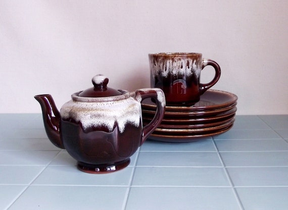 SALE Vintage Brown Dripware Pottery Assorted Serving Pieces