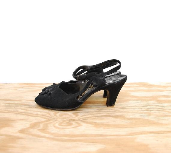 50s Black Peep Toe Heels - Ankle Strap Cocktail Heels - 1950s Vintage Peep Toe - Florsheim Shoes - Leather Bow Shoes - SIZE 5 1/2 - 6 36