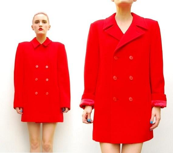 60s 70s Red Coat - Pendleton Coat -  Mod Double Breasted Wool Coat - 1970s Wool Pea Coat - Red Pea Coat - Red Coat - M 8 10