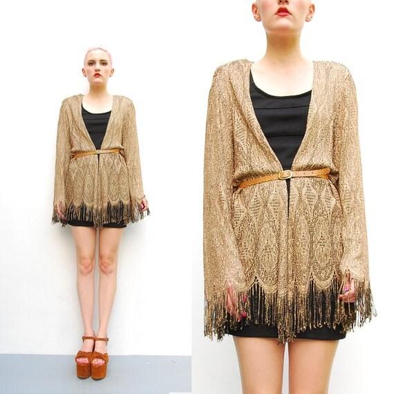 80s Cardigan - Sheer Metallic Lace Knit Cardigan - 1980s Deco Lace Jacket - Gypsy Scalloped Fringe Hem - Metallic Gold - M L