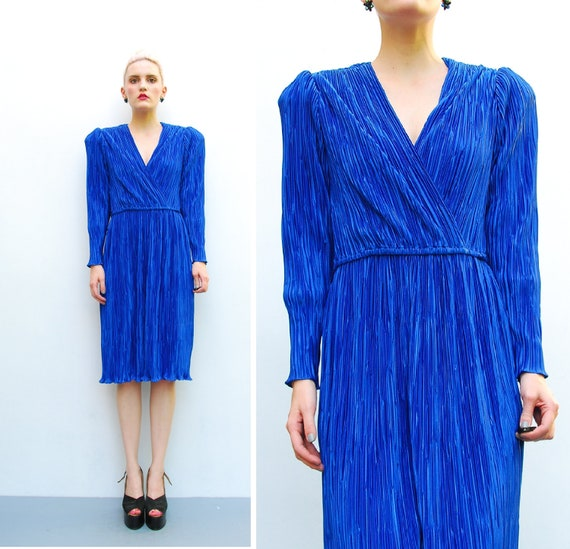 70s Cobalt Blue Wrap Dress - Draped Plunging V Neck Dress - 1970s Pleated Secretary Stretchy Dress - Office Fashion - Long Sleeve - S M 6 8