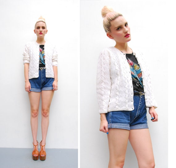 60s White Sweater Cardigan - Rosanna Virgin Wool Sweater Jacket - 1960s Fitted Wedding Cardigan - Mad Men Sweater - British Hong Kong -