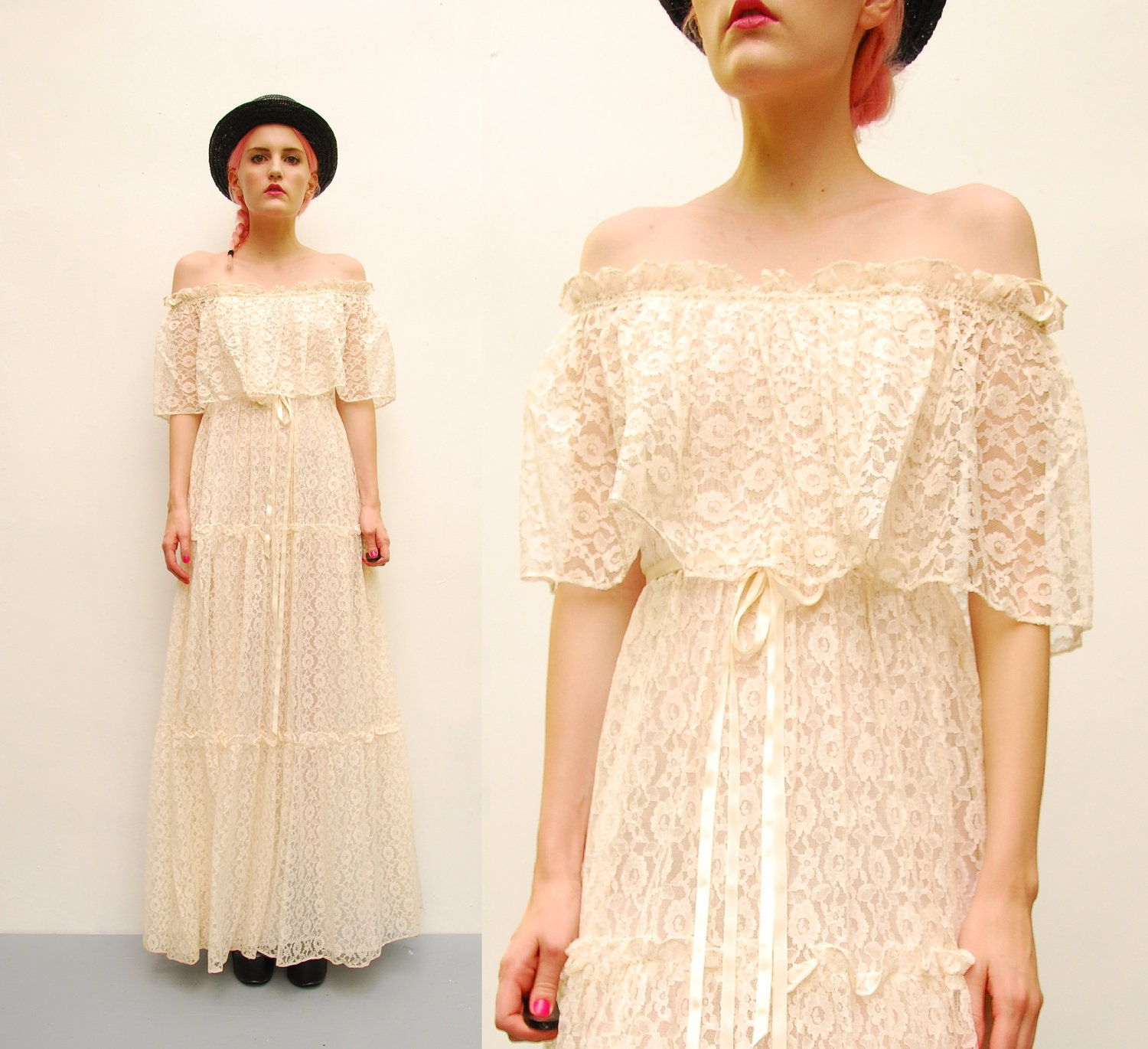 70s Ivory Lace Dress Off Shoulder Tiered Dress Hippie