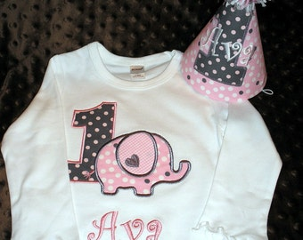 Elephant Birthday Shirt and Hat Pink and Gray