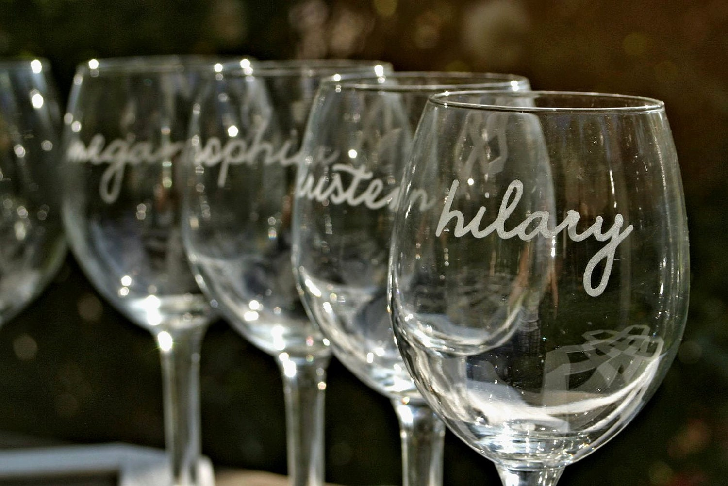 Engraved Wine Glasses For Wedding Gift : Personalized Bridesmaid Gift Wedding Toasting by ScissorMill