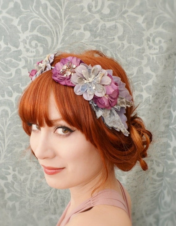 Vintage flower head piece, purple flower crown, wedding hair band, hair accessories - Seraphina