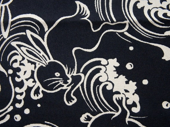Energetic Rabbit and Wave Navy Heavy Cotton Fat Quarter Classic Japanese Motif