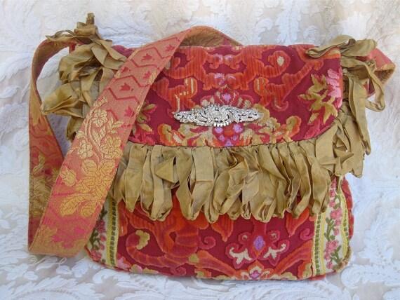RESERVED.......Vintage Velvet  Chenille Handbag, Orange