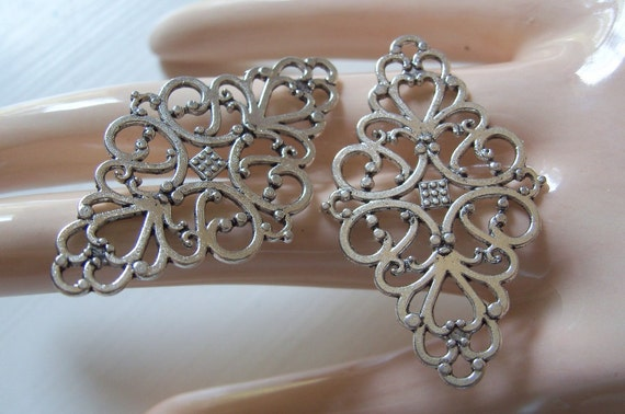 2 Lace Filigree Diamond Findings Antiqued Silver Filigrees