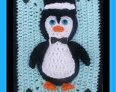 The Happy Mr Penguin 3D Afghan & Pillow Motif  Crochet Pattern