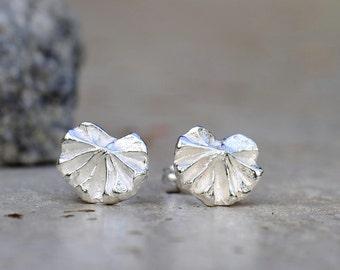Leaf earrings, silver leaf posts, lady's mantle leaf, tiny fan earrings, sterling silver studs, stud earrings