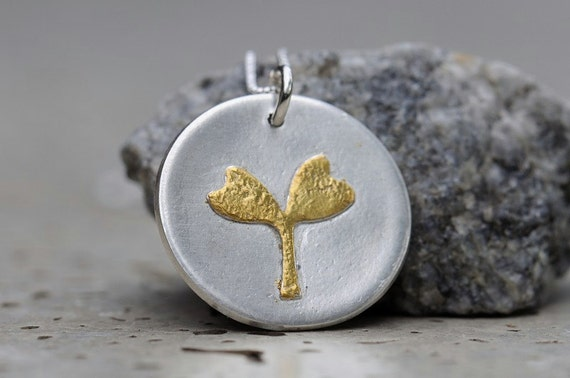 Seedling necklace silver and gold coin necklace with sterling silver chain
