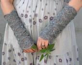 Gray Mist - crocheted open work lacy very romantic wrist warmers cuffs