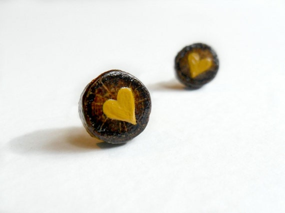 Laurel Oak Heart Earrings - Mustard Hearts on Wood Studs - Valentine's Day - Woodland Wedding - Eco Friendly