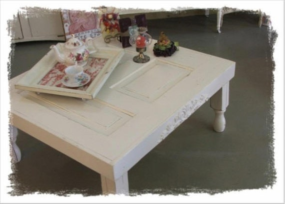 Vintage Door Shabby Style Coffee Table Creamy White By Soshabbyjen