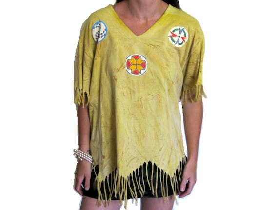 Vintage Fringe Top, Gold Yellow Marbled Tie Dye T Shirt, Tribal V Neck, MEDIUM, LARGE