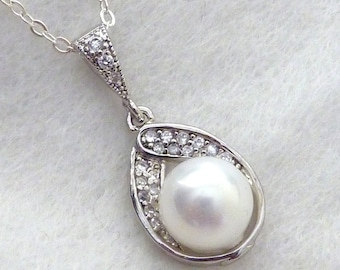 Bridal Necklace - White Round Pearl in Cubic Zirconia Setting Necklace in Sterling Silver Chain 34.95