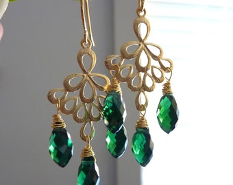 Mystic Emerald Green Crystal with 16k Gold Plated  Peacock Feather Chandelier Golden Earrings