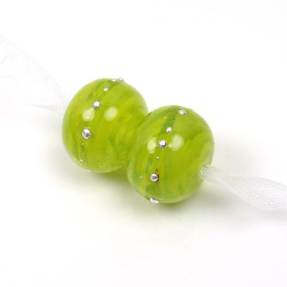 Handmade lampwork beads  -  Veiled Lime  -   silver wire, glass beads, earring beads,