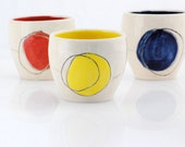 tumbler set of three in primary colors red yellow and blue
