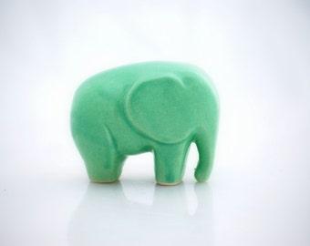 Elephant ceramic figurine in mint green