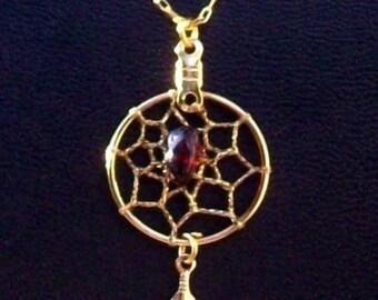Gold & Garnet Dream catcher necklace