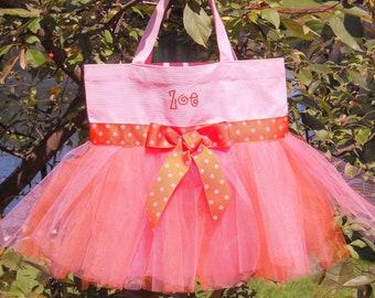 tutu tote bag, ballet bag, tutu bag, tutu dance bag,Embroidered  Dance  Bag -Pink bag with Hot Pink and Orange Tutu Tote  Bag - TB334 - D