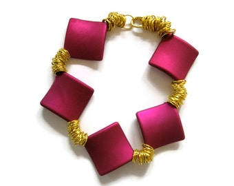Fashion bracelet Hot Pink Gold  square soft touch beads statement jewelry Fuchsia  arm candy by FruttiTuttiBeadCandy