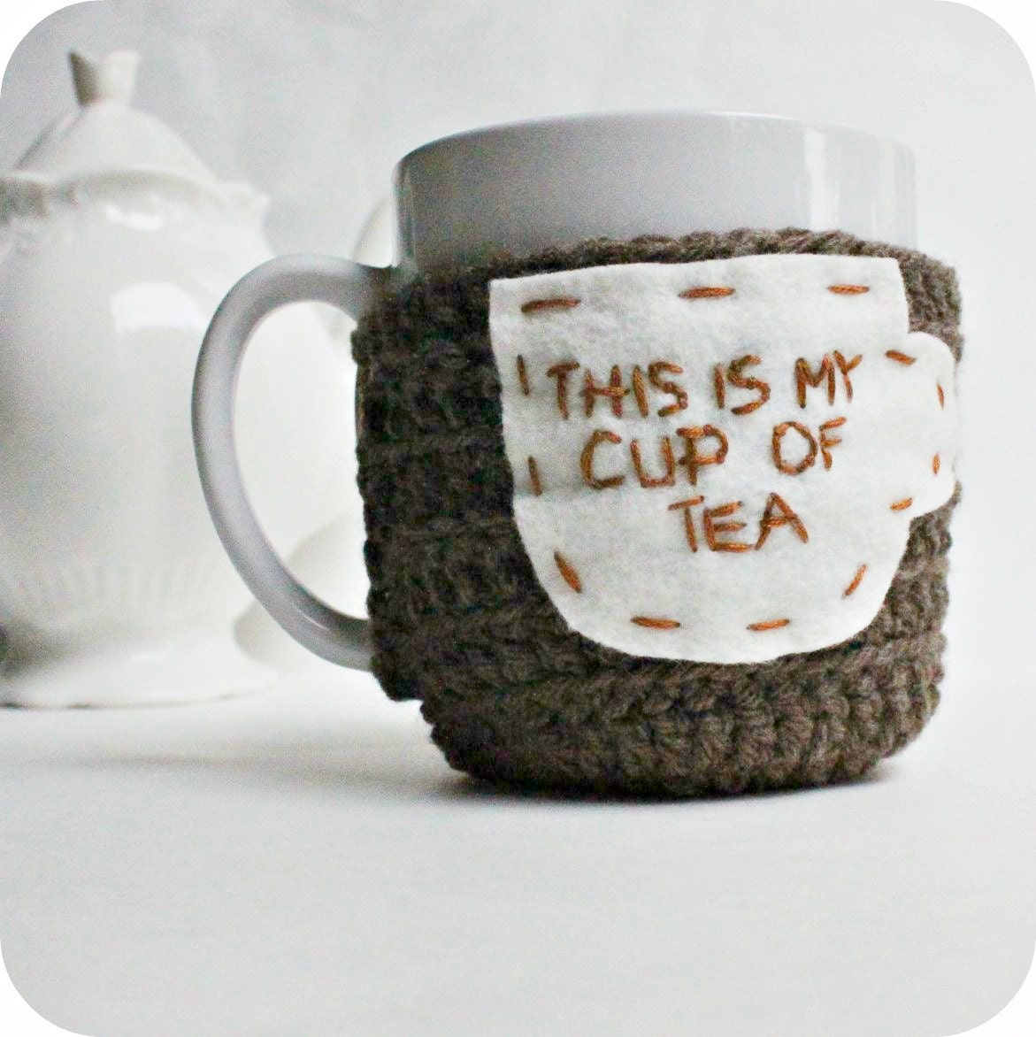cozy cover tea mug tea cup cozy my cup of tea funny. Black Bedroom Furniture Sets. Home Design Ideas