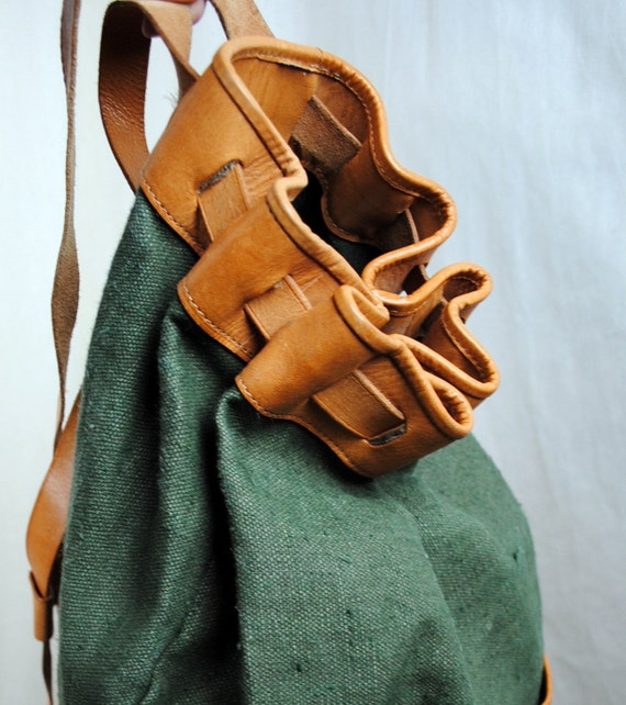 Vintage Linen and Leather Boho Rucksack Backpack