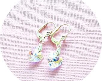 Crystal Earrings, Hearts, Heart Jewelry, Heart Earrings, Wedding, Austrian Crystal, Dangle Earrings, Sparkly Earrings, Easter Earrings