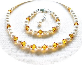Girls Necklace, Bracelet, Citrine, Honey Yellow, Flower Girl, November Birthstone