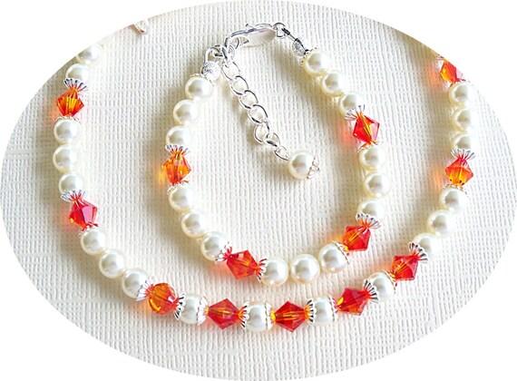 Girls Orange, Tangerine, Necklace and Bracelet, Flower Girl